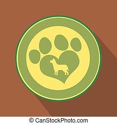 amor, pata, verde, impressão, círculo, ícone