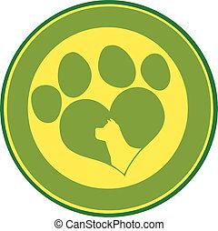 amor, pata, verde, impressão, círculo, bandeira