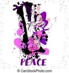 amor, paz, -, mão, vetorial, human, gesto