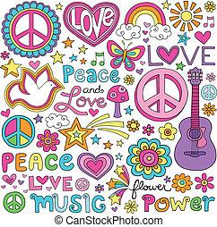 amor, paz, música, caderno, doodles