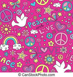 amor, paz, paloma, doodles, patrón