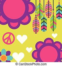 amor, penas, livre, boho, retro, corações, flores, espírito