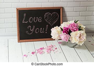 amor, peonías, inscripción, pizarra, usted