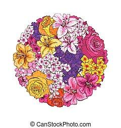 amor-perfeitos, illustration., lírios, colorfull, flowers., vetorial, phloxes., rosas, círculo