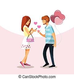 amor, personagem, par, escreva, conversa, telefones, caricatura