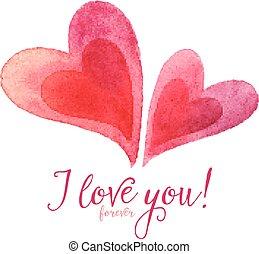 amor, pintado, calligraphic, acuarela, par, corazones,...