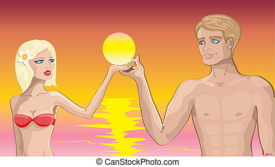 amor, praia, par