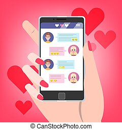 amor, prendendo móbil, tela, mão, telefone, conversa