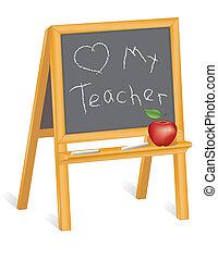 amor, professor, cavalete, meu, quadro-negro