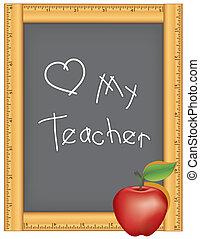 amor, professor, meu, chalkboard, régua