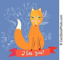 amor, raposa, -, ilustração, desenho, retro, tu, flores, cartão