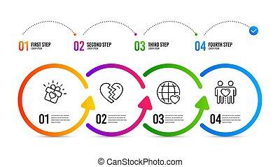 amor, regalo, iconos, amor, set., arriba, interrupción, vector, internacional, pareja, amigos, signo.