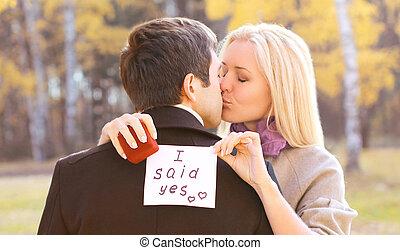 amor, relaciones, compromiso, y, boda, concepto, -, hombre, propos
