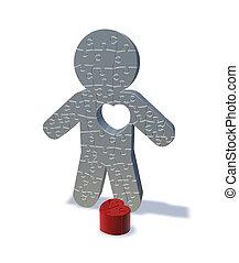 amor, render, jigsaw, homem, 3d, perdido