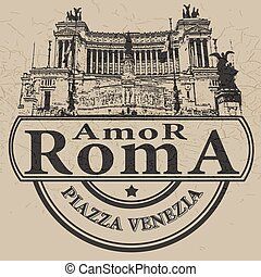 amor romastamp - background with text amor roma on vector...