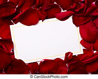 amor, rosa, saudação, nota, pétalas, cartão natal, ...