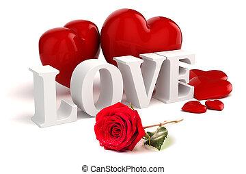amor, rosa, texto, fundo, corações, branco vermelho, 3d