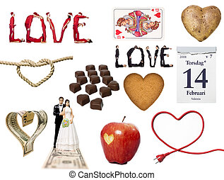 amor, símbolo, colagem