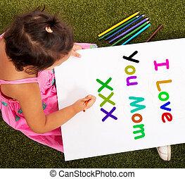 amor, símbolo, desejos, mum, tu, mensagem, melhor