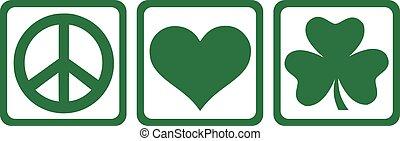 amor, s., paz, -, patrick's, trébol, triple, día