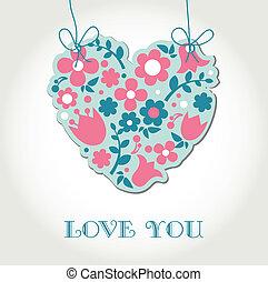 amor, saudações, cartão, com, floral, coração