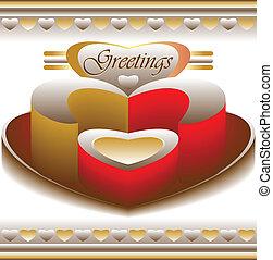 amor, saudações, cartão