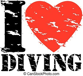amor, selo, ilustração, borracha, vetorial, mergulhar, grunge