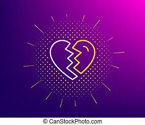 amor, signo., divorcio, icon., interrupción, vector, forme fila