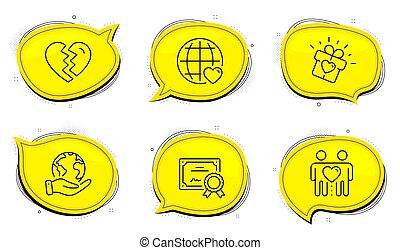 amor, signo., iconos, interrupción, regalo, amigos, internacional, amor, arriba, set., pareja, vector