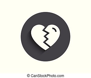 amor, simple, divorcio, signo., arriba, interrupción, icon.