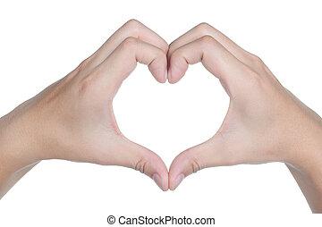 amor, sinal, isolado, mão, ícone, postura