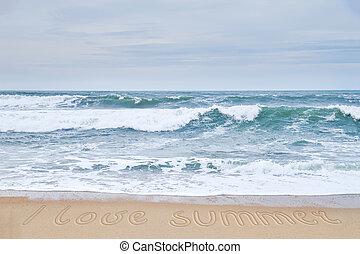 amor, summer., ondas, picado, playa, arenoso