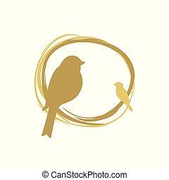 amor, tarareo, gorrión, nido, paz, símbolo., aves, logotipo...
