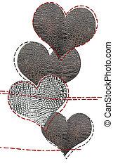 amor, tarjeta, de, cuero, corazones