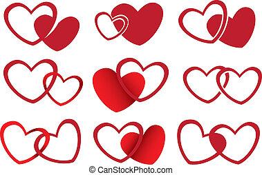 amor, tema, vetorial, desenho, corações, vermelho