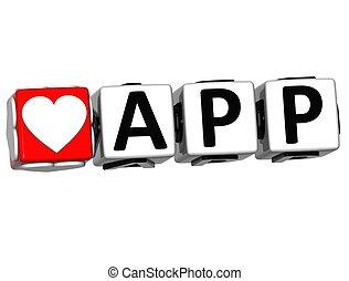 amor, texto, app, aquí, clic, botón, bloque, 3d