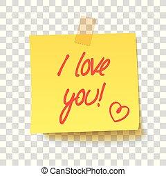 amor, texto, -, nota pegajosa amarilla, you!