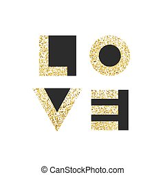 amor, tipografía, camiseta, gráficos, vectors., oro, geométrico, cartas