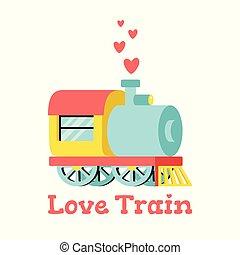amor, trem, ilustração, vetorial, hearts., locomotiva