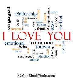 amor, tu, conceito, palavra, nuvem