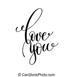 amor, tu, preto branco, manuscrito, lettering
