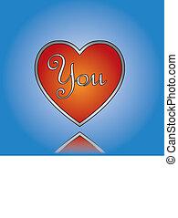 amor, u, ou, tu, conceito, ilustração