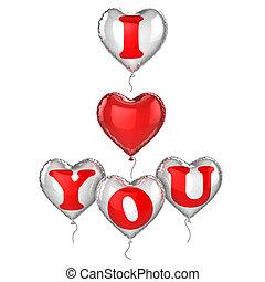 amor, usted, globos