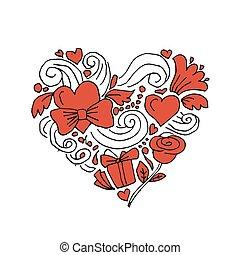 amor, valentine, coração, esboço, para, seu, desenho