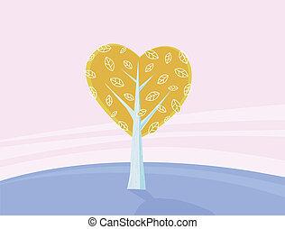 amor, valentines, árvore