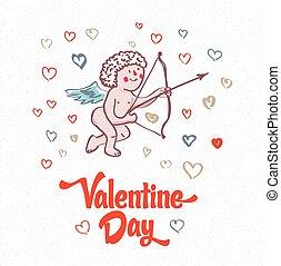 amor, valentines, cupido, ilustración, plano de fondo,...