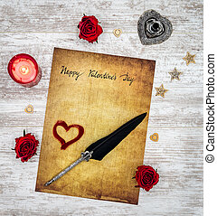 amor, valentines, hart, cartão, rosas, vela, dia, pena, feliz