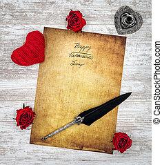 amor, valentines, rosas, hart, cartão, dia, pena, feliz