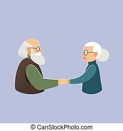 amor, valentino, anciano, pareja, día, Matrimonio
