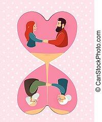 amor, valentino, pareja, joven, anciano, pareja, día, Matrimonio